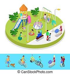 város, isometric, külső, lakás, emberek., liget, gyalogló, ábra, zenemű, vektor, játszótér, activity., gyerekek, 3