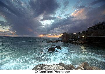 város, izrael, klasszikus, tengertől távol eső, -, galilee,...