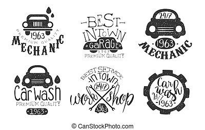város, jutalom, szolgáltatás, garázs, állhatatos, autó, legjobb, elnevezés, ábra, kezezés mosás, vektor, retro, húzott, monochrom, minőség, jelvény