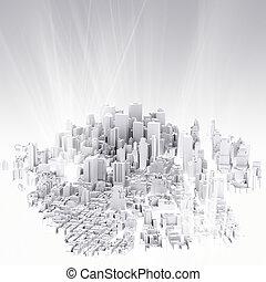 város, kép, 3, render, scape