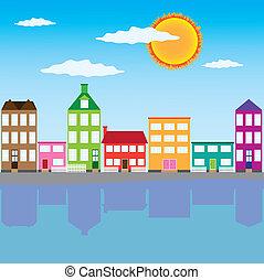 város, képben látható, a, folyó