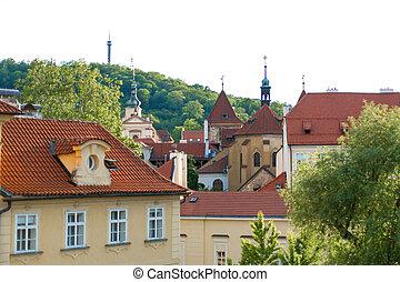 város, kövezet, prague., utcák, strago, építészet, megkövez, öreg, sokszínű, európa, alacsony, épületek, stones.