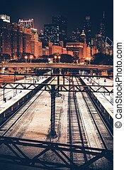város, közül, chicago, éjjel