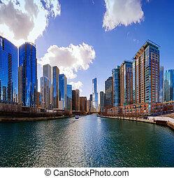 város, közül, chicago, illinois, usa