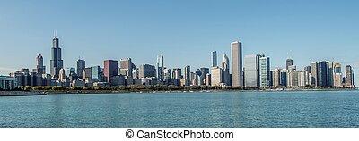város, közül, chicago, láthatár