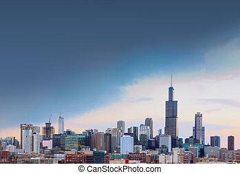 város, közül, chicago, noha, szabad, hely, illinois, usa