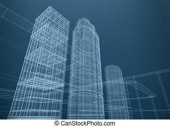 város, közül, felhőkarcoló, alatt, alakzat