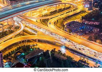 város, közlekedési csomópont, closeup, noha, forgalom, torlódás