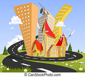 Város, Kivonat, vektor,  -, nyár