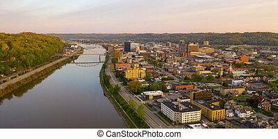 város, kongresszus székháza washingtonban, nyugat virginia, hosszú, körképszerű, charleston, kilátás