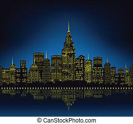 város láng, cityscape