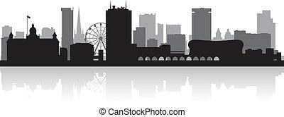 Város, láthatár, árnykép,  birmingham