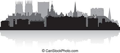 Város, láthatár, árnykép,  York