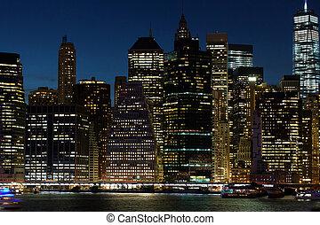 Város, láthatár,  York, Éjszaka, új,  Manhattan