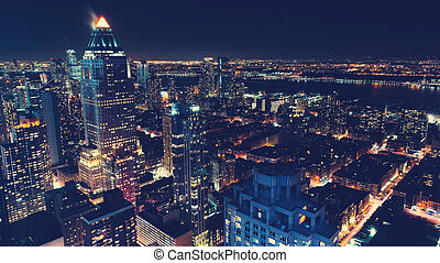 Város, láthatár,  York, új, Éjszaka