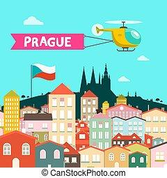város, lakás, city., illustration., cseh, prága, vektor,...