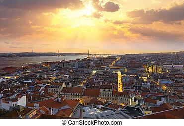 város, lisszabon, letesz nap