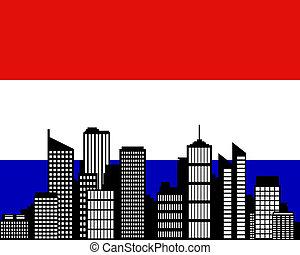 város, lobogó, németalföld