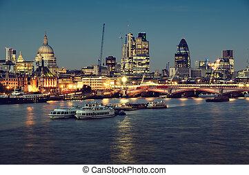 város london, egy, -ban, night.
