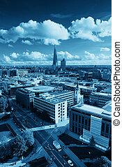 város, london, háztető