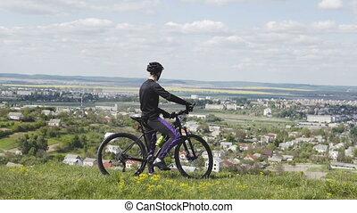város, lovaglás, tető, bicikli, ember