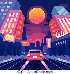 város, mód, illustration., lakás, neon, futuristic, kibernetikai, lenget, 1980s, háttér., utca, zene, retro, éjszaka, új, synthwave, táj
