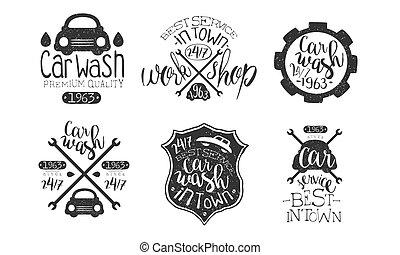 város, műhely, jutalom, szolgáltatás, állhatatos, autó, legjobb, elnevezés, ábra, kezezés mosás, vektor, retro, húzott, monochrom, minőség, jelvény