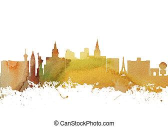 város, művészet, usa, vízfestmény, láthatár, vegas, nyomtat, nevada, las