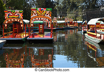város, mexikó, csónakázik, xochimilco