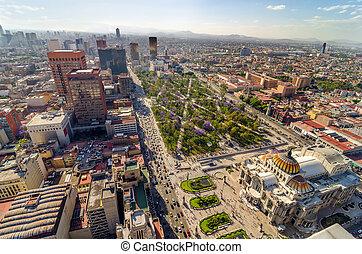 város, mexikó, felülnézet