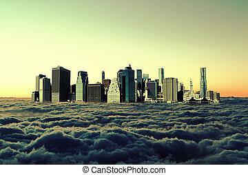 város, modern, ég, napnyugta