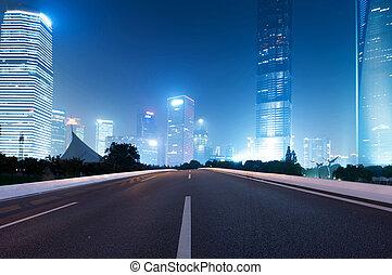 város, modern, aszfalt út