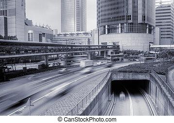város, modern, forgalom