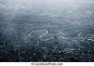 város, moszkva, felülnézet