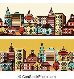 város, motívum, seamless, kéz, épület, húzott