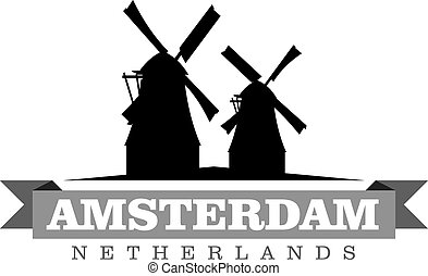 város, németalföld, jelkép, ábra, vektor, amszterdam