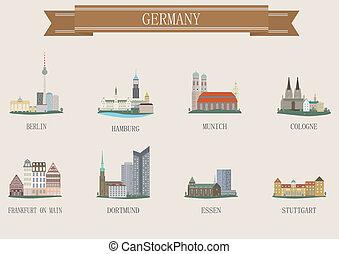 város, németország, jelkép.