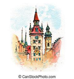 város, németország, münchen, öreg, előszoba
