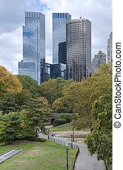 Város, névérték, központi,  panoráma, láthatár,  York, új,  Manhattan, megnézett