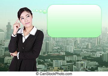 Város, nő, Ügy, Gondolkodó, sok, Gondolat, buborék, Üres