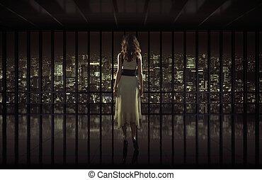város, nő, bámuló, meglehetősen, éjszaka