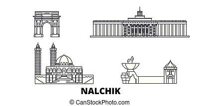város, nalchik, áttekintés, ábra, set., landmarks., jelkép,...