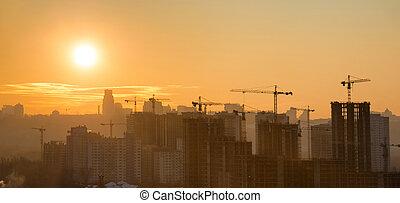 város, napnyugta, panoráma