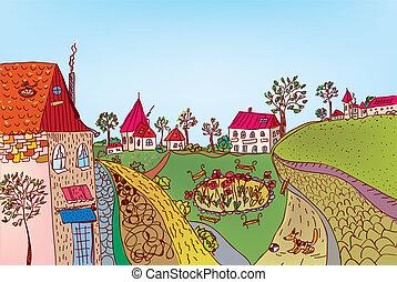 város, nyár, fairytale, utca, karikatúra