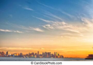 Város,  NYC,  defocus, kép, életlen,  York, háttér, új