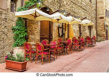 város, olaszország, sarok, kicsi, öreg, kávéház