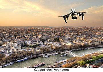 város, párizs, panoráma, repülés, henyél, felül