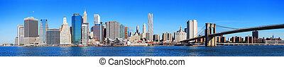 város, panoráma, láthatár, york, új, manhattan