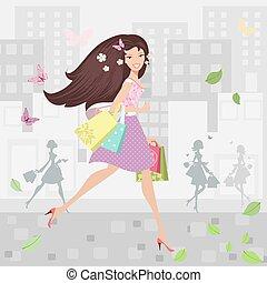 város, pantalló, gyalogló, bevásárlás, mindenfelé, leány, boldog