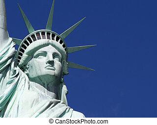 város, részletez, szabadság, york, szobor, új